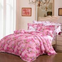 富安娜家纺 床上用品四件套贡缎60S纯棉全棉床品套件床单被套 单双人 踏莎美人 1米8/1米5床(230*229cm)粉色