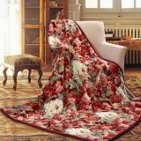 富安娜(FUANNA)家纺家居用品 加厚毛毯 毯子 双人盖毯 双层云毯舒柔毯 红色 1.8*2m