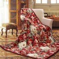 富安娜(FUANNA)家紡家居用品 加厚毛毯 毯子 雙人蓋毯 雙層云毯舒柔毯 紅色 1.8*2m