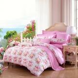 富安娜家紡 床上用品四件套純棉全棉床品套件床單被套 小清新雙人加大 愛戀 1米8/2米床(230*229cm)粉色