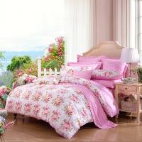 富安娜家纺 床上用品四件套纯棉全棉床品套件床单被套 小清新单双人 爱恋1米5/1米8床(203*229cm)粉色