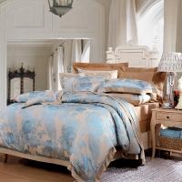 富安娜家纺 床上用品四件套欧式提花床品套件床单被套 高档单双人  南屏雀舞1米5/1米8床(203*229cm)绿色