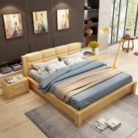 A家家具 床 实木框架床 1.5米双人床简约软包皮床 1.5米框架床+床垫*1+床头柜*1 Y3A0107-150