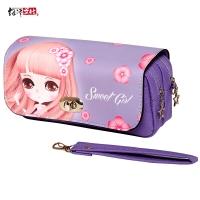 绍泽文化 大容量笔袋女款学生文具盒铅笔收纳袋 甜心女孩紫色