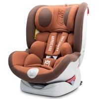 安默凯尔 汽车儿童安全座椅isofix硬接口 0-12岁360旋转坐躺可调宝宝座椅 全能盾 摩卡棕