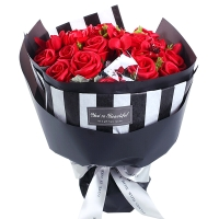 I'M HUA HUA21朵紅色香皂玫瑰花束禮盒鮮花速遞520情人節鮮花禮物母親節生日禮物紀念日禮物送女生女友