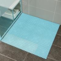 欧润哲 疏水垫 1平方米浴室自由拼接可裁剪地毯 淋浴房脚垫 镂空疏水门垫 蓝色 16片装