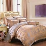 富安娜家紡 床上用品 高檔大提花四件套素提床品套件 卡薩布蘭卡 1.5米/1.8米床適用(203*229cm)淺咖