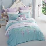堂皇 床品家紡 純棉繡花四件套 全棉舒適床單被罩 紫藤莊園 綠色 1.5米床 200*230cm