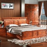 粤顺红木床 中式实木床花梨木双人床怪古典大床头柜三件套 C39