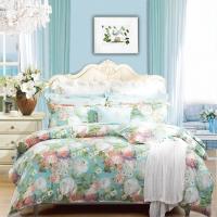 富安娜家纺 床上用品四件套纯棉全棉床品套件床单被套 印花单双人  1米5/1米8床(203*229cm)蓝色