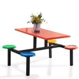 奈高学生员工食堂餐桌椅小吃店4人不锈钢玻璃钢连体快餐桌椅组合(款式3)