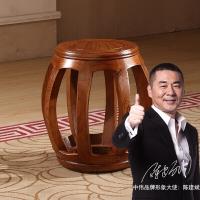 中伟实木茶桌椅鼓凳圆凳榆木鼓墩坐墩换鞋凳子中式小矮凳古筝凳茶桌凳