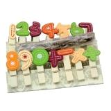 芬尚 JZ008 韩版数字乘除法卡通彩色小木夹 书夹14个装(带麻绳)