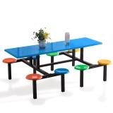 奈高学生员工食堂餐桌椅小吃店8人不锈钢玻璃钢连体快餐桌椅组合(款式1)