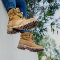 京东京造 马丁靴女工装靴女高帮透气 反绒磨砂头层牛皮 麦黄色 37