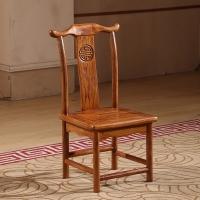 中伟实木茶桌椅中式仿古功夫榆木书椅靠背椅家用休闲餐桌椅子牛角椅