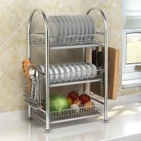 艾心依然 碗碟架瀝水架 304不銹鋼三層廚房置物架收納架帶砧板架筷子筒 碗碟架廚房置物架