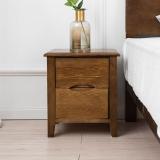 精邦 北欧风双抽屉床头柜维多利亚实木胡桃木色储物柜WSC-018