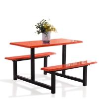 奈高学生员工食堂餐桌椅小吃店4人不锈钢玻璃钢连体快餐桌椅组合(款式4)