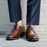 京东京造 男士商务正装皮鞋男德比鞋系带英伦 意大利进口牛皮手工上色 棕色 41