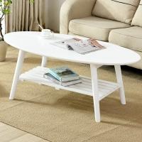 家逸 可折叠双层茶几椭圆形 简约茶桌边几 客厅简约茶几桌子白色
