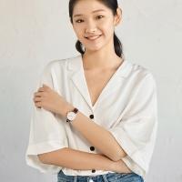 京东京造 手表女情侣手表石英简约 棕色皮表带 玫瑰金表盘 32mm