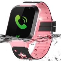 智力快车儿童电话手表Z6 学生智能触屏拍照手表电话 360度游泳防水防丢定位手环手机男女孩 粉色