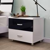 A家家具 床头柜 现代简约卧室家具板木结合黑白套系 床边储物柜 HB005