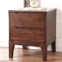 家逸实木床头柜双抽橡木北欧简约储物柜子棕色