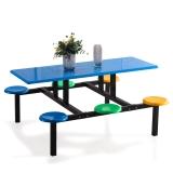 奈高学生员工食堂餐桌椅小吃店六人不锈钢玻璃钢连体快餐桌椅组合(款式1)