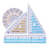 日本國譽(KOKUYO)學生考試用尺套裝 直尺/三角尺/量角器 15cm直尺 2把10cm三角尺 量角器 四件套 GY-GBA501