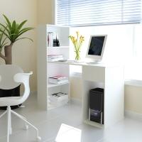 慧乐家 电脑桌台式家用  京东配送一体式书柜书桌 带柜子办公桌 白色 11057-1