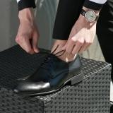 京东京造 男士商务正装皮鞋男德比鞋系带简约光面 意大利进口牛皮 黑色 41