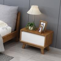 精邦 床头柜 单抽储物柜实木床边柜乌金木色WSC-017