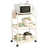 寶優妮 廚房 置物架 微波爐置物架 廚房用品 收納架 落地儲 三層可移動餐車 客廳廚房電器置物DQ1217