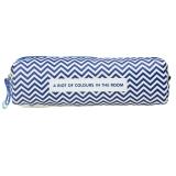晨光(M&G)文具深蓝色小号几何图案笔袋文具盒铅笔收纳袋 单个装APB93404
