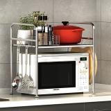 艾心依然 微波炉架子厨房置物架收纳架  不锈钢双层调料架烤箱架 (59*37*54cm)