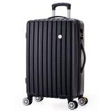博兿(BOYI)萬向輪24英寸拉桿箱時尚輕盈經典條紋行李箱男版商務休閑旅行箱BY-82002黑色