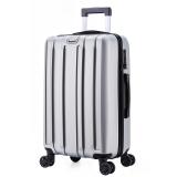 瑞界(SWISSALPS) 萬向輪拉桿箱24英寸簡約商務休閑行李箱豎紋男女旅行箱 SA-17006 流光銀