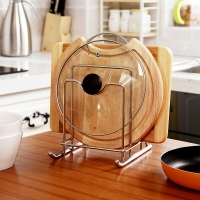 歐潤哲 鍋蓋架 廚房置物架多功能砧板架刀架瀝水架加粗不銹鋼收納架