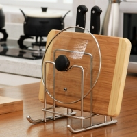 欧润哲 锅盖架 不锈钢专利雪橇款厨房砧板置物架 升级版可加放刀具