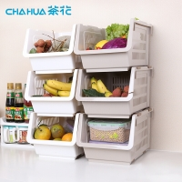 茶花 廚房置物架斜口可層疊收納筐收納箱收納籃(單個裝) 2894