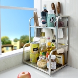 宝优妮刀架调料架调料盒调味罐收纳架3层不锈钢厨房置物架壁挂厨房用品DQZWJ03