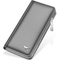 七匹狼男士手包 頭層牛皮錢包多功能軟皮商務男卡包手機包1A4964081-01 黑色