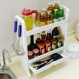 宝优妮 调料架 厨房置物架 落地2层调料盒 收纳架 桌面整理架 厨房用品带抽屉DQ1402-2