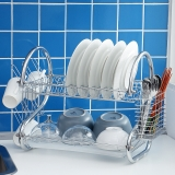 欧润哲 碗碟架 16寸豪华PLUS版S型双层碗碟置物储物架