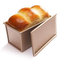 學廚 CHEF MADE 吐司模具450g不粘吐司盒面包模具波紋滑蓋土司盒烘培工具烤箱用香檳金色WK9054C