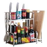 美廚(maxcook)廚房置物架 不銹鋼二層置物架刀架砧板架調料瓶架 帶掛鉤筷子筒 MC2035
