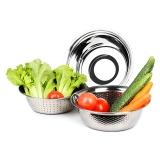SIMELO(施美乐)厨房调料盆料理碗滤水盆加厚不锈钢米筛三件套